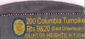 Squadron Cap, left side, (<-- front). NO a real one does not have the address on it, just the city and state!